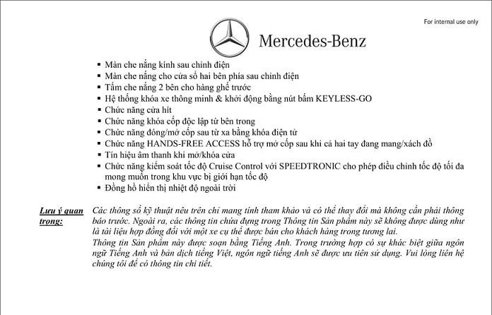 Thông số kỹ thuật Mercedes S450 Luxury