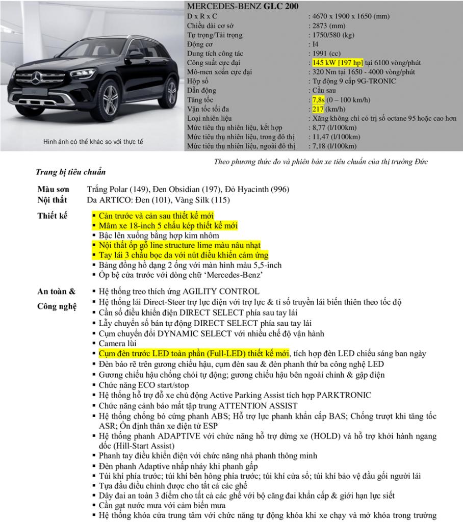 Thông số kỹ thuật của Mercedes GLC 200 2021