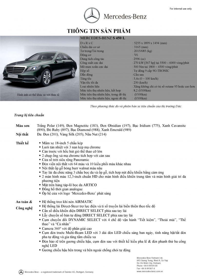 Thông số kỹ thuật Mercedes S450 2021 mới nhất