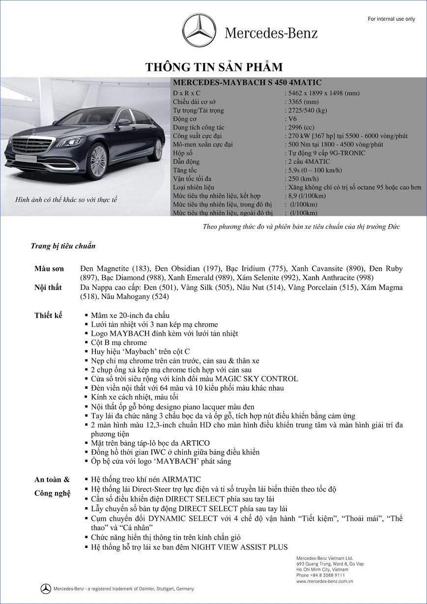 THÔNG SỐ KỸ THUẬT MERCEDES-MAYBACH S400 VÀ MERCEDES-MAYBACH S450